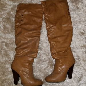 The Buckle Knee high heeled boots size 9